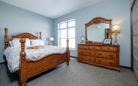 Master bedroom in a Southern Pointe three bedroom town house.