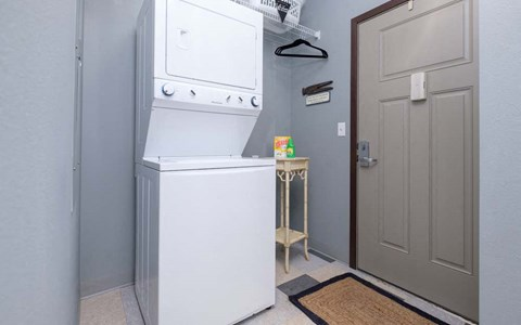 All apartments in Southern Pointe feature in-unit laundry.
