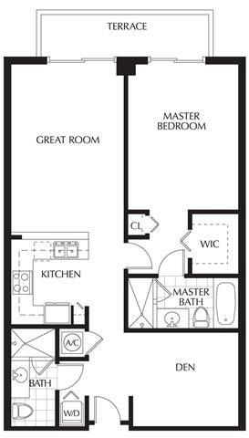 Plan A | One Bedroom - 2 Baths + Den