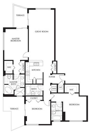 Plan C | Three Bedrooms - 3 Baths