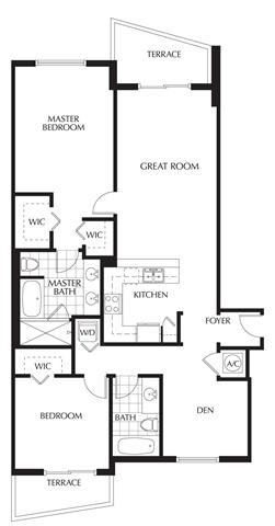 Plan D | Two Bedrooms - 2 Baths + Den