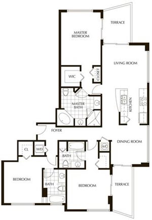 Plan E | Three Bedrooms - 3 Baths