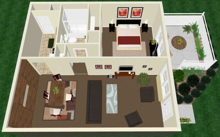 One Bed One Bath Apartment Floor Plan 4