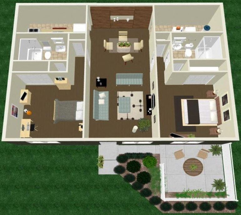 Two Bedroom Two Bath Apartment Floor Plan 6