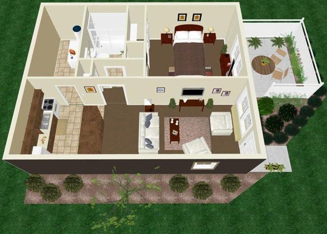 One Bedroom One Bath Apartment Floor Plan 3