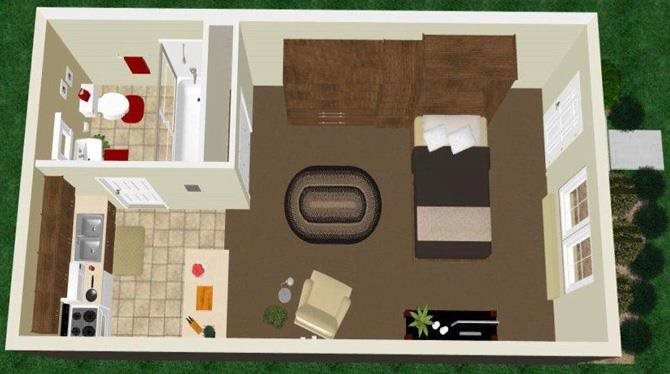 Studio Apartment Floor Plan 1