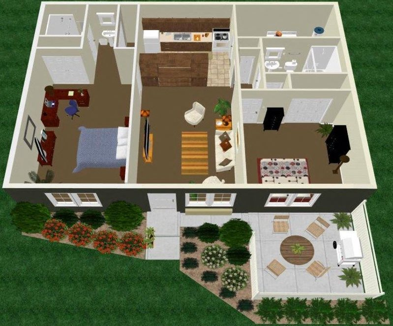 Two Bedroom Two Bath Apartment Floor Plan 4