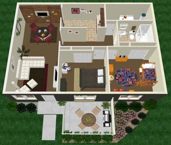 Two Bed One Bath Floor Plan 3