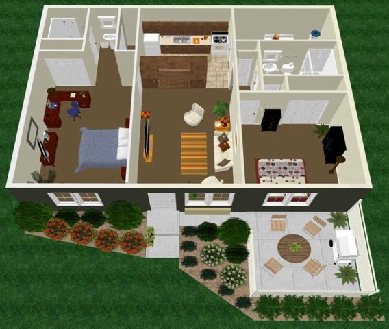 Two Bed Two Bath with Master Bed Floor Plan 5