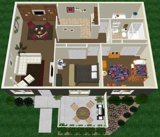 Two Bedroom One Bath Apartment Floor Plan 2