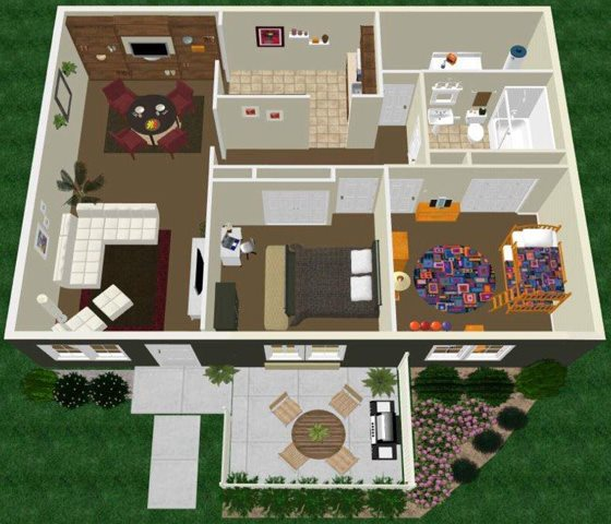 Two Bedroom One Bath Floor Plan 4