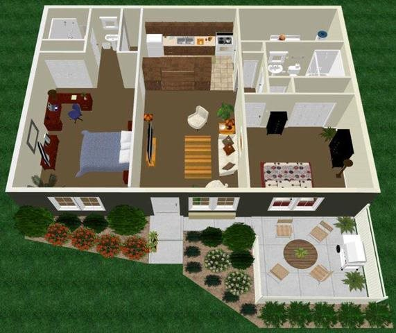 Two Bedroom Two Bath with Master Bedroom Apartment Floor Plan 4