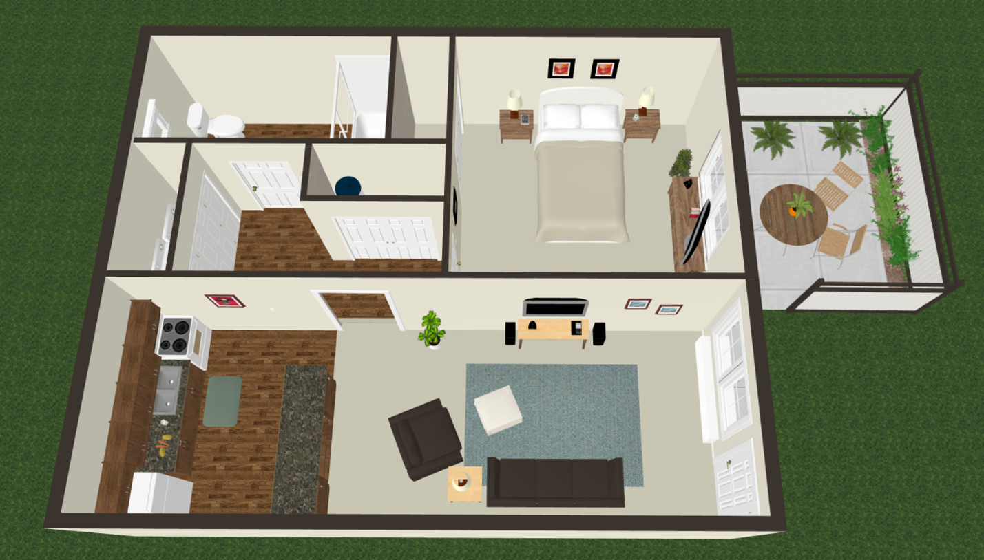One Bed One Bath Floor Plan 3