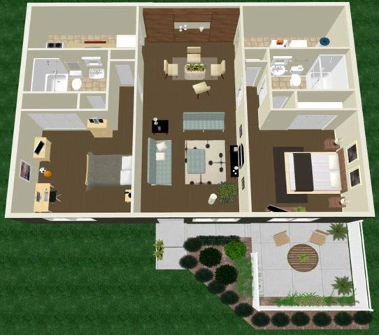 Two Bed Two Bath Floor Plan 5