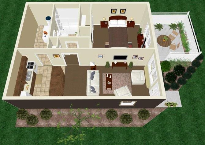 One Bedroom One Bath Apartment Floor Plan 1