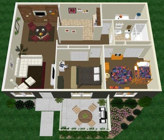 Two Bedroom One Bath Apartment Floor Plan 3
