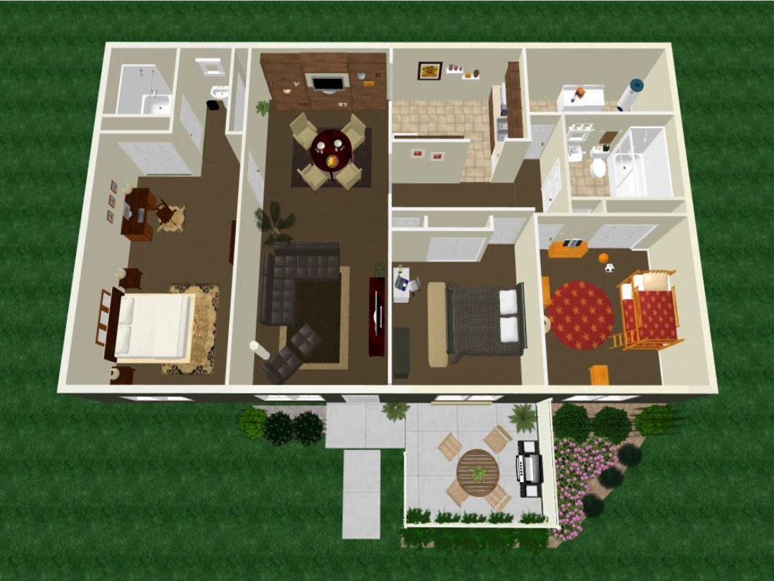 Three Bedroom Two Bath Apartment Floor Plan 4