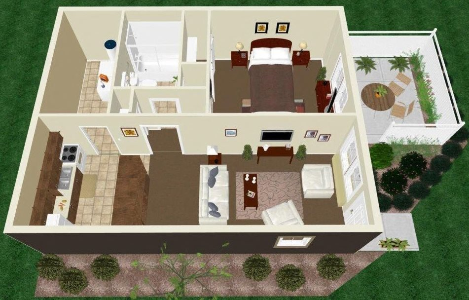One Bedroom One Bath Apartment Floor Plan 2