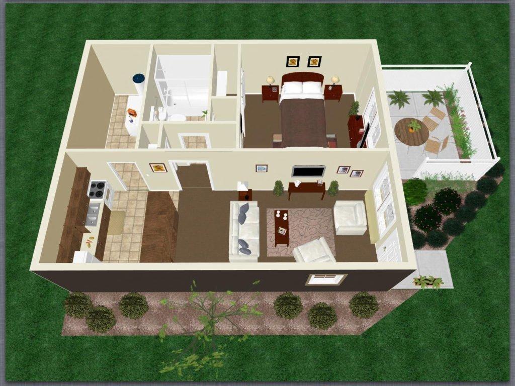 One Bedroom One Bath Apartment Floor Plan 2