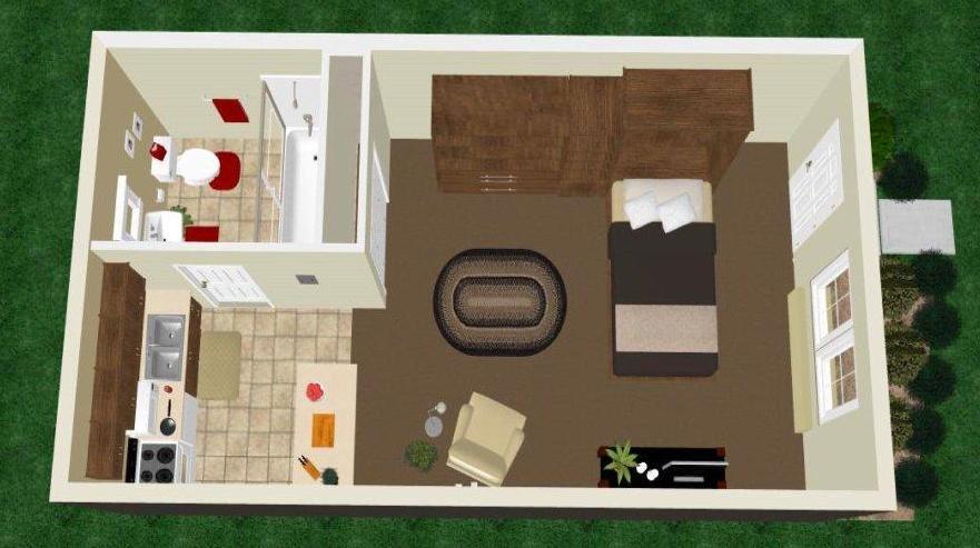 Studio Apartment Floor Plan 1