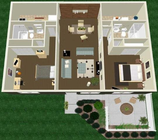 Two Bed Two Bath Floor Plan 4