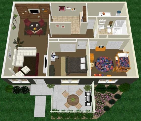 Two Bed One Bath Floor Plan 2