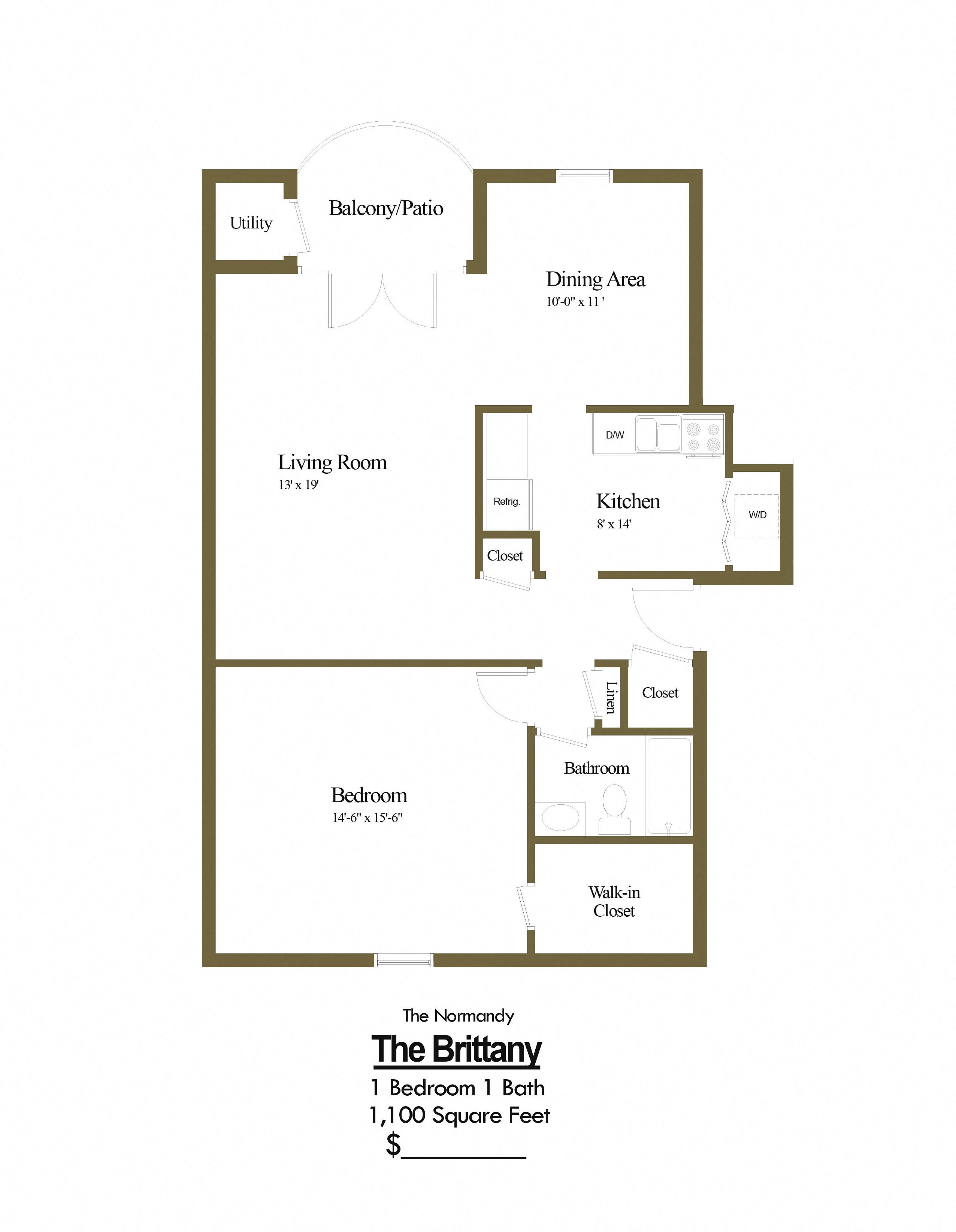 1 bedroom 1 bathroom floorplan in pikesville maryland