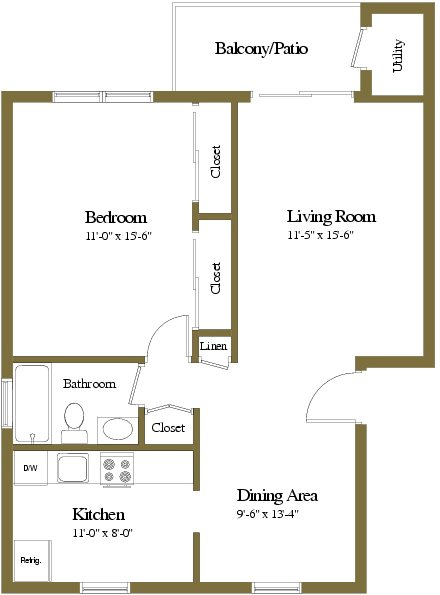 Colony Hill Apartments and Townhomes 1 Bedroom 1 Bathroom Floorplan