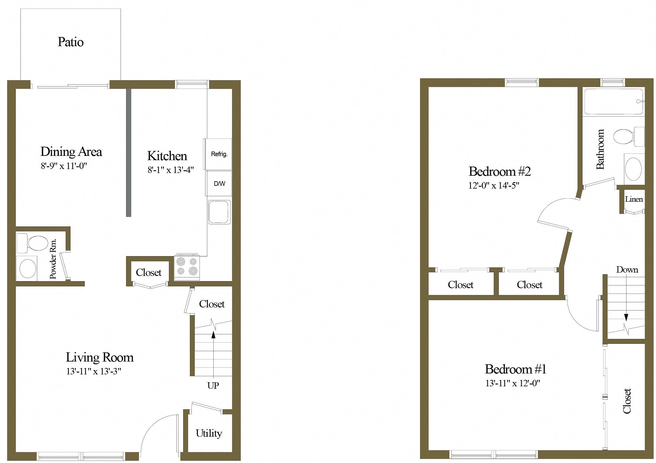 Colony Hill 2 Bedroom 1.5 Bathroom Townhome Floorplan