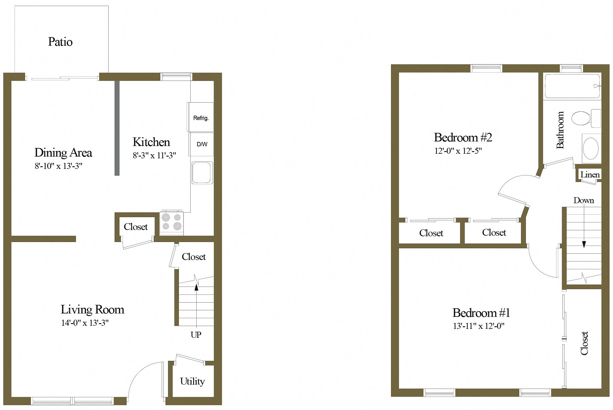 Colony Hill 1 Bedroom 1 Bathroom Townhome Floorplan
