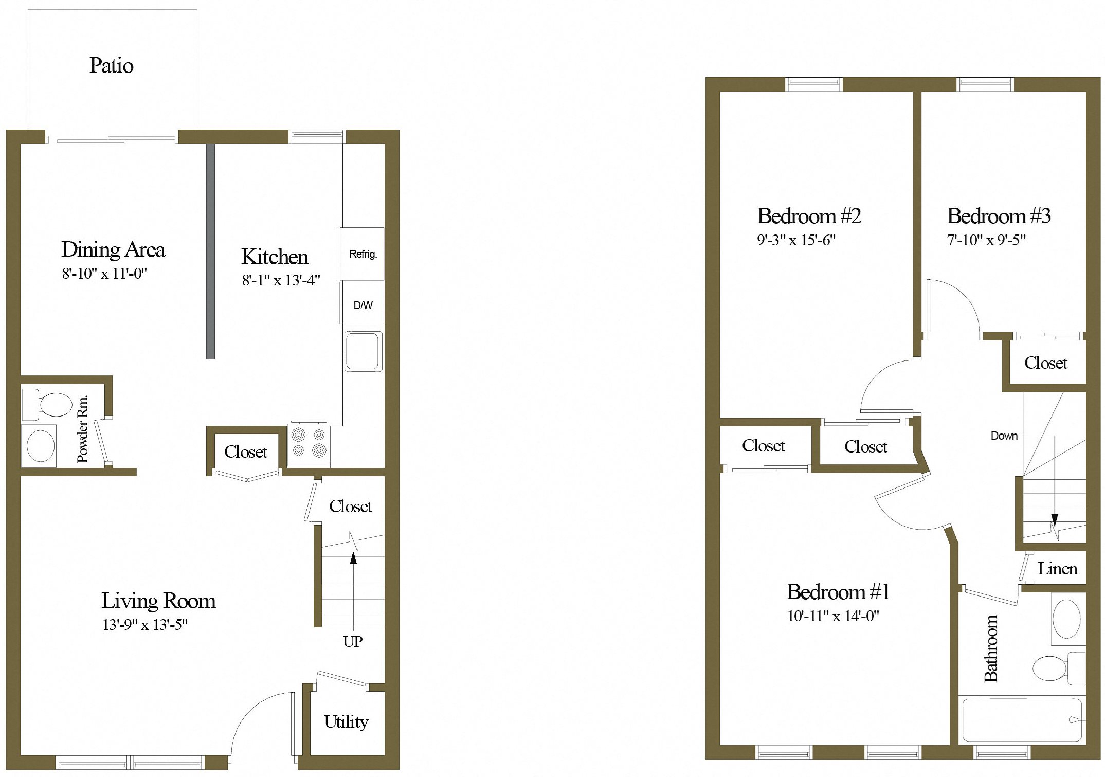 Colony Hill 3 Bedroom 1.5 Bathroom Townhome Floorplan