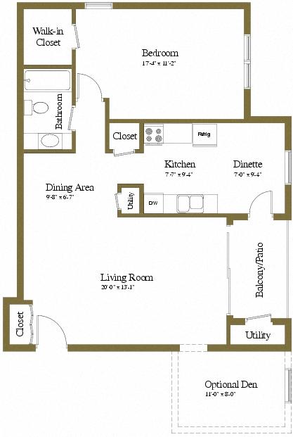 1 Bedroom 1 Bath Floor Plan In Towson