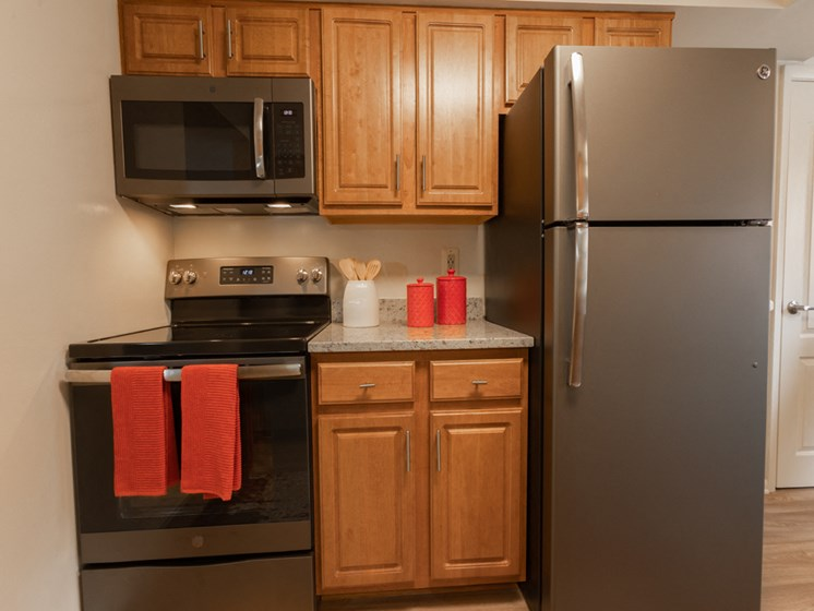 Sleek Slate Appliances, at Cromwell Valley Apartments, 21286, MD