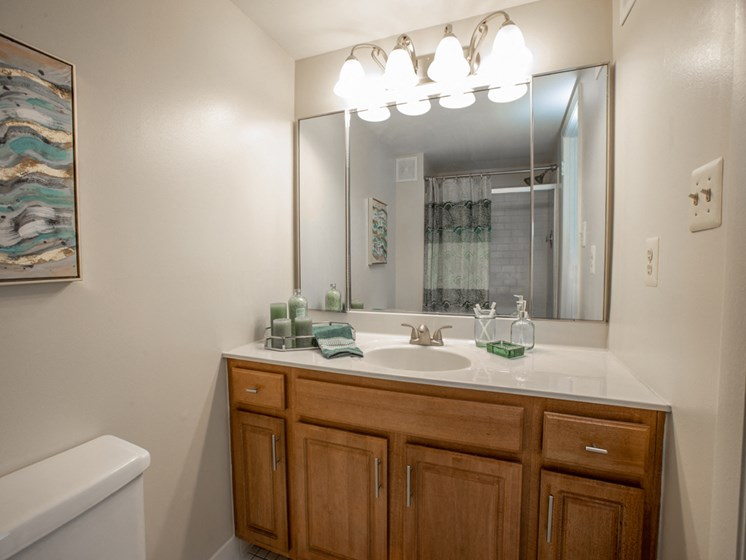 Designer Granite Countertops in all Bathrooms, at Cromwell Valley Apartments, Towson, Maryland