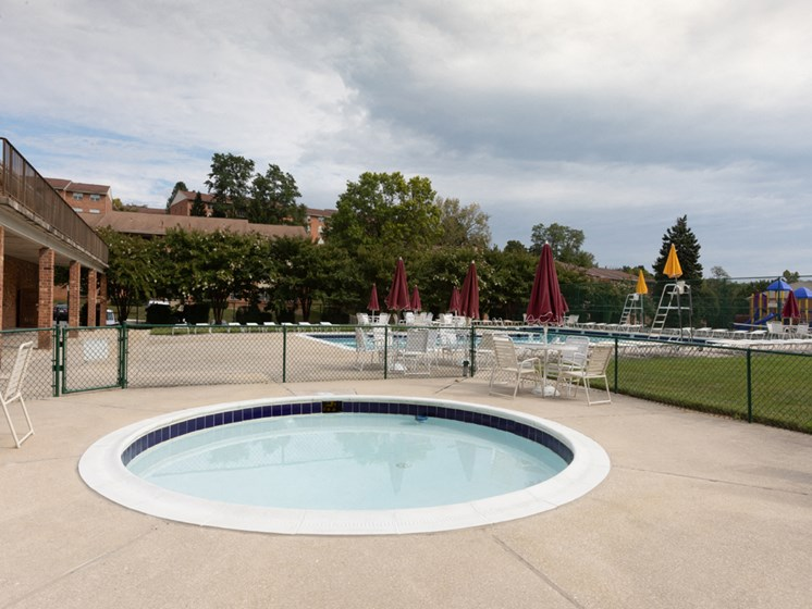 Mini Swimming Pool And Relaxing Area, at Cromwell Valley Apartments, Towson, MD