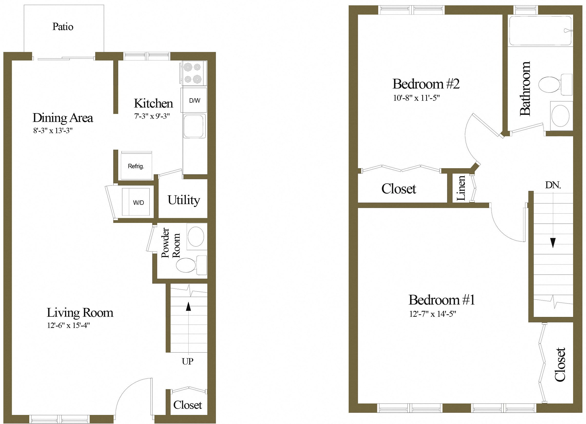 2 Bedrooms 1.5 Bath Townhome Floor Plan 4