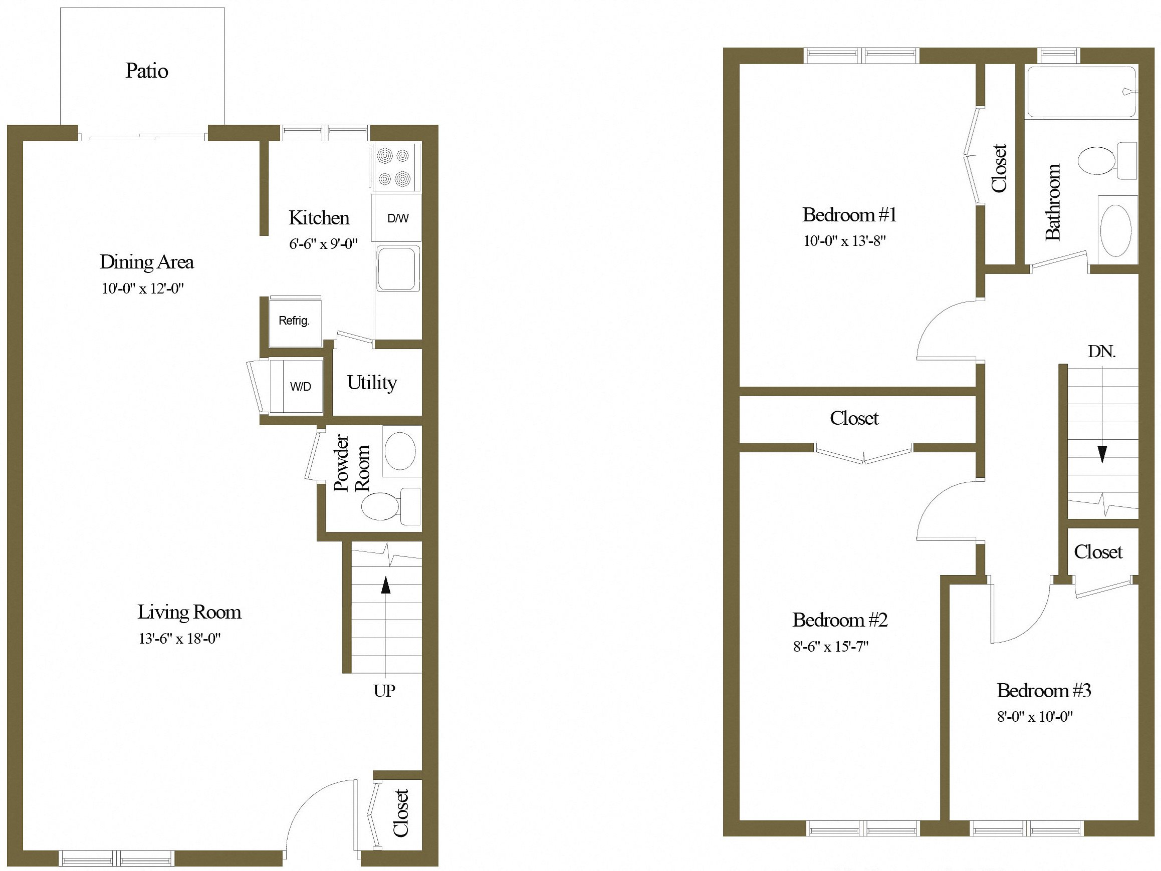 3 Bedrooms 1.5 Bath Townhome Floor Plan 5