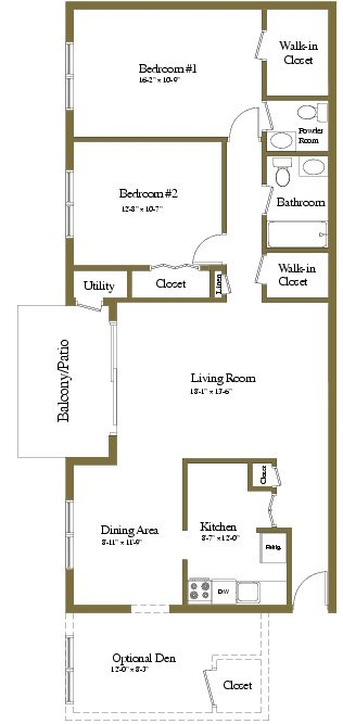 2 Bedrooms 1.5 Bath Floor Plan 3