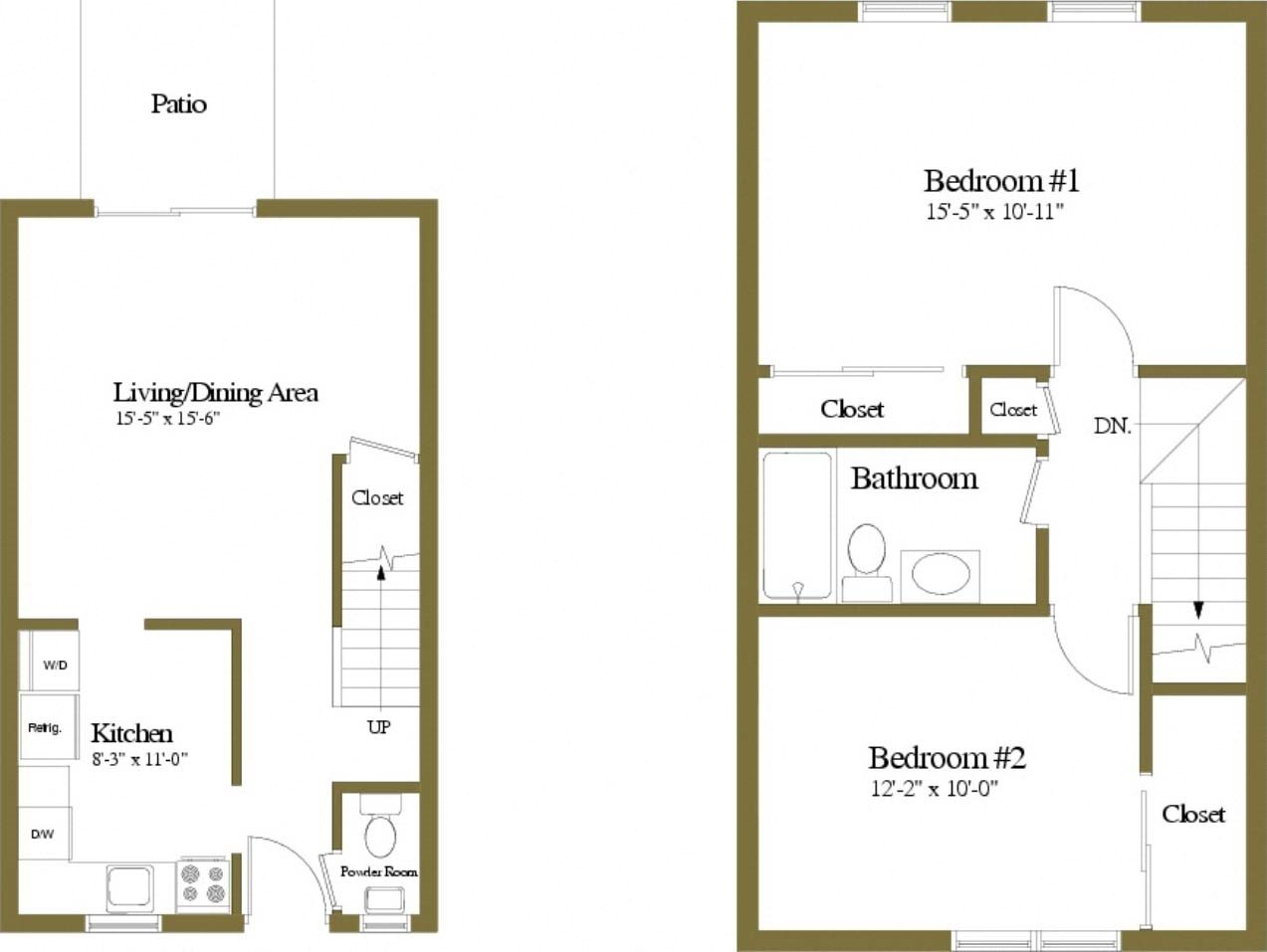 2 Bedrooms 1.5 Bath Floor Plan 2
