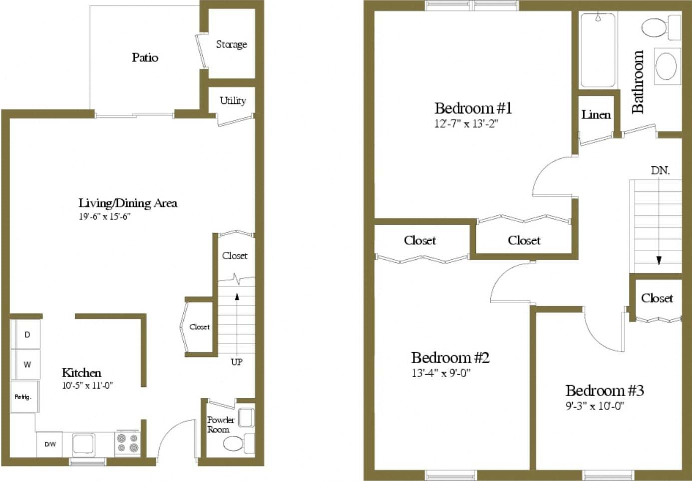 3 Bedrooms 1.5 Bath Floor Plan 3