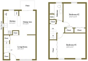 Yorktowne Townhomes 2 Bedroom Floorplan