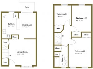 Yorktowne Townhomes 3 Bedroom Floorplan
