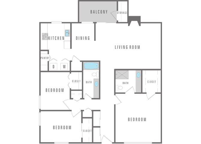 3 Bedroom 2 Bath Floor Plan 5
