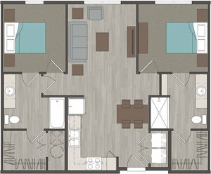 Lofts at LaVilla 2 Bedroom, 2 Bathroom