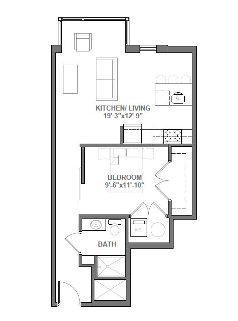 Studio with Den Floor Plan 5