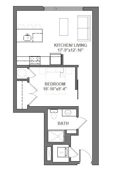 Studio with Den Floor Plan 3