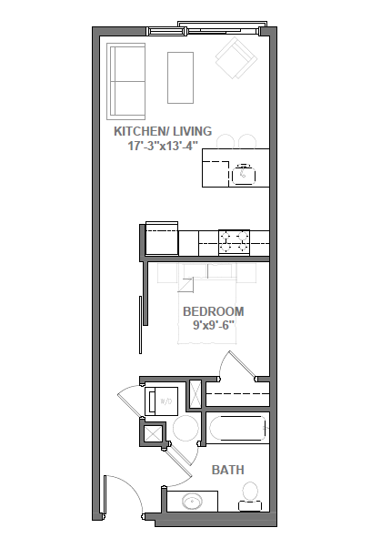 Studio with Den Floor Plan 2