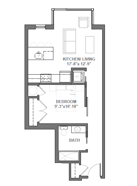 Studio with Den Floor Plan 4