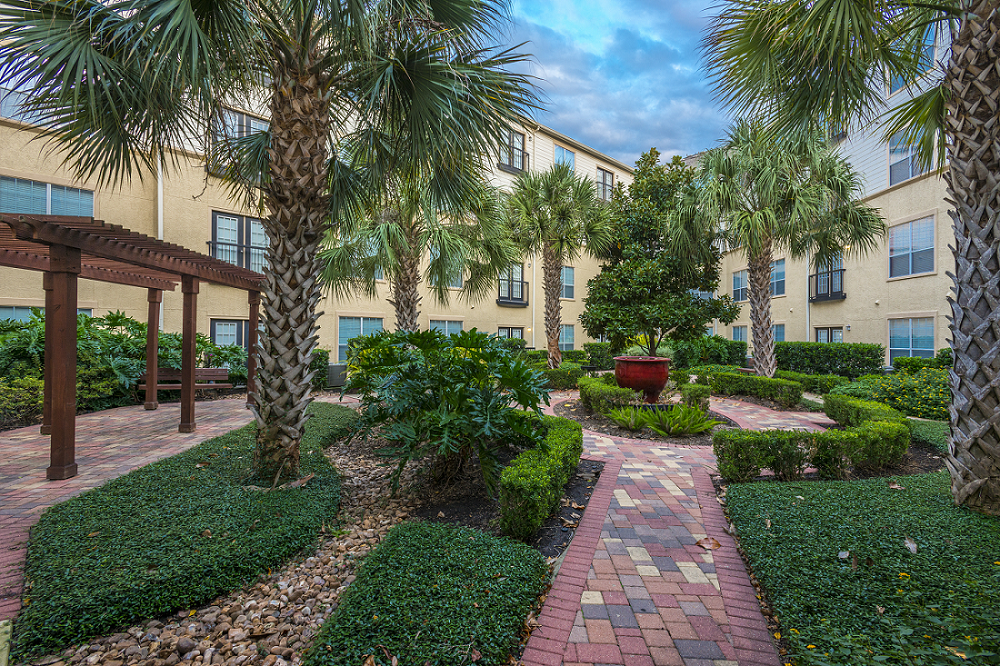 Beautifully Landscaped Courtyard at Marquette at Piney Point, Houston, TX, 77063