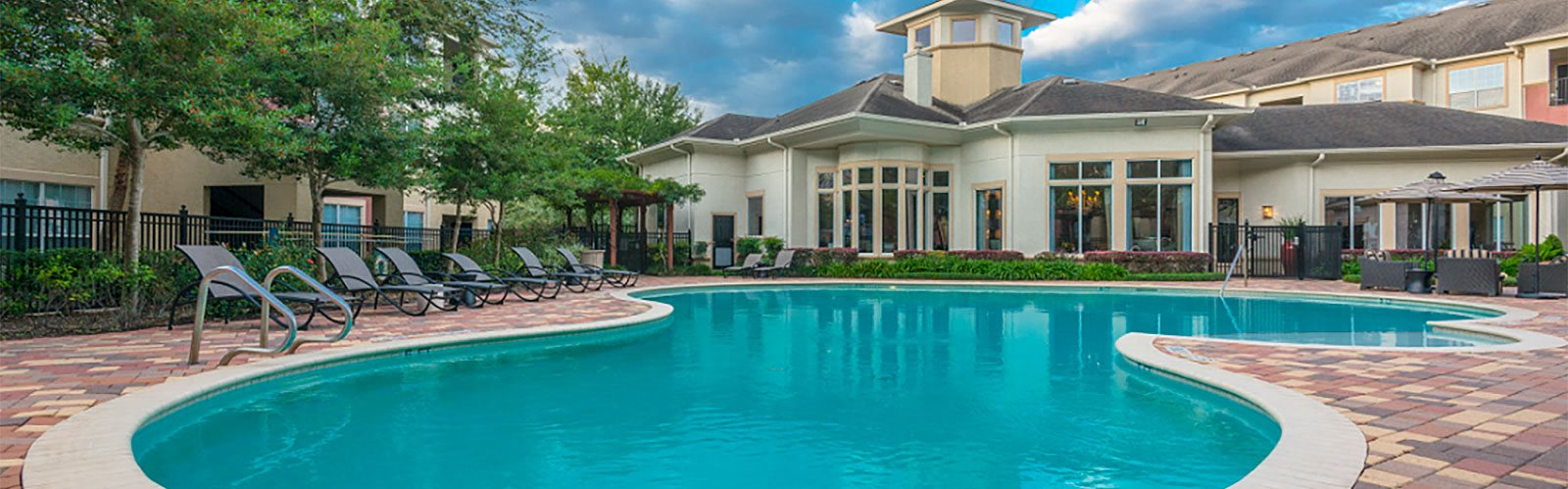 Pool Side Relaxing Area at Marquette at Piney Point, Houston, TX, 77063